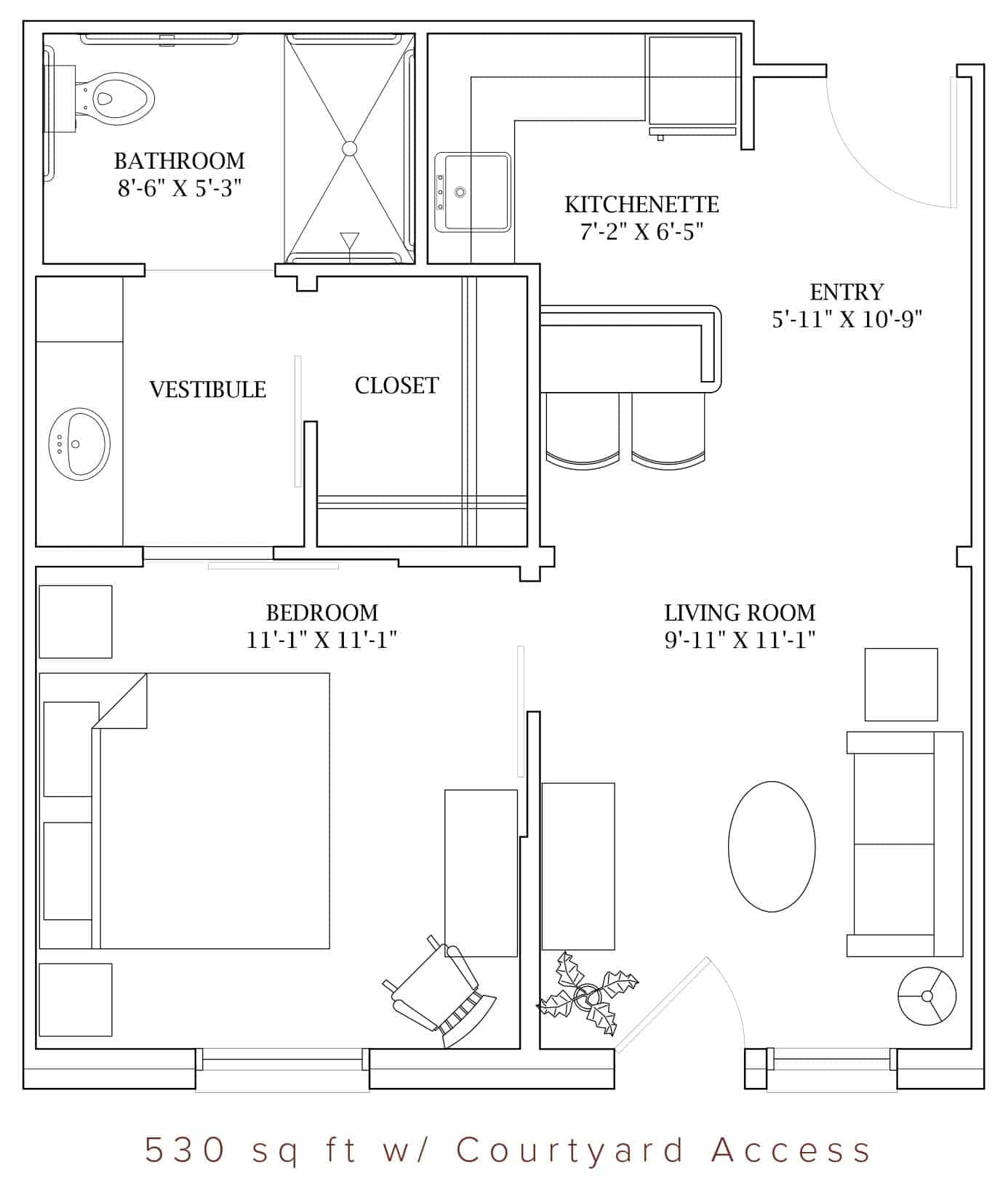 The Oaks at Liberty Grove has two different floor plans for 1 Bedroom Apartments available