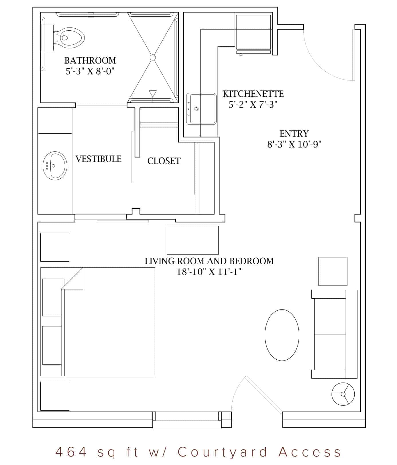 The Oaks at Liberty Grove has two different floor plans for Studio Apartments available for Retired Seniors